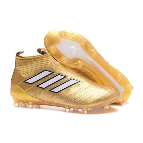 dobra jakość tanie trampki buty do biegania Korki Buty Adidas ACE 17+ PureControl FG - Złoty Biały