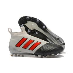 Adidas ACE 17+ PureControl FG Korki Pilkarskie - Szary Czarny Czerwony