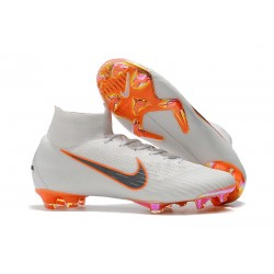 Buty Piłkarskie Nike Mercurial Superfly 6 Elite FG - Biały Pomarańczowy