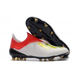 adidas X 18+ FG Buty Piłkarskie - Biały Czerwony Złoto
