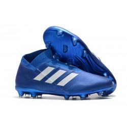 Korki Pilkarskie Adidas Nemeziz 18+ FG - Niebiesk Biały