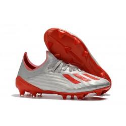 Buty Piłkarskie adidas X 19.1 FG Srebrny Metalik Ostry Czerwony