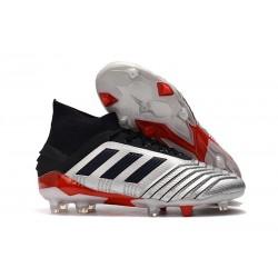 Buty piłkarskie adidas Predator 19.1 FG - Srebro Czarny Czerwony