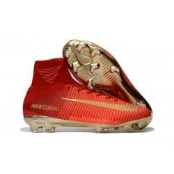 Buty Piłkarskie Nike Mercurial Superfly V FG Czerwony Złoto