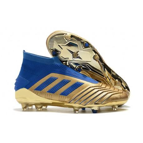adidas Buty Piłkarskie Predator 19+ FG - Złoto Niebieski