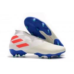 Buty piłkarskie adidas Nemeziz 19+ Fg Biały Pomarańczowy