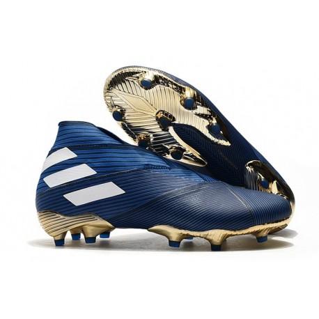 Buty piłkarskie adidas Nemeziz 19+ Fg Niebieski Biały Czarny
