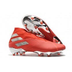 Buty piłkarskie adidas Nemeziz 19+ Fg Czerwony Srebro