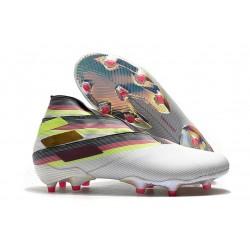 Buty piłkarskie adidas Nemeziz 19+ Fg Biały Czarny Srebro