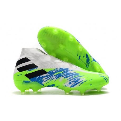 Buty piłkarskie adidas Nemeziz 19+ Fg Biały Zielony Niebieski