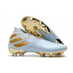 Buty piłkarskie adidas Nemeziz 19+ Fg Niebieski Złoty Biały