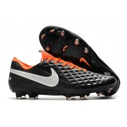 Buty Piłkarskie Nike Tiempo Legend VIII FG -Czarny Biały Pomarańczowy