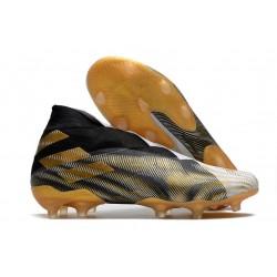 Buty piłkarskie adidas Nemeziz 19+ Fg Biały Czarny Złoto