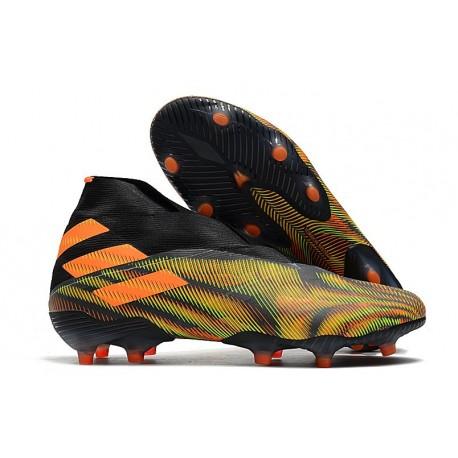 Buty piłkarskie adidas Nemeziz 19+ Fg Zielony Czarny Pomarańczowy