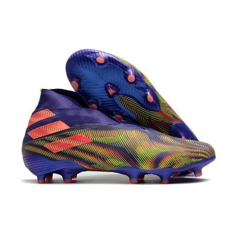 Buty piłkarskie adidas Nemeziz 19+ Fg Fioletowy Zielony Różowy
