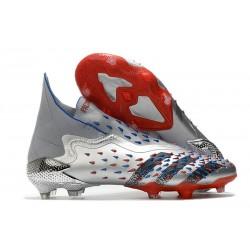 Buty Piłkarskie adidas Predator Freak+ FG Srebro Czarny Czerwony